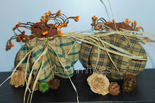Set Of 2 - Handcrafted Navy/Tan & Green/Tan Homespun Pumpkins