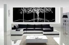 "ORIGINAL ABSTRACT PAINTING ""TREE OF LIFE BLACK & WHITE"" & - SHIPPING IS FREE!"
