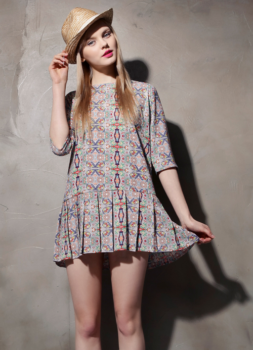 Drop Waist Ethnic Print Dress