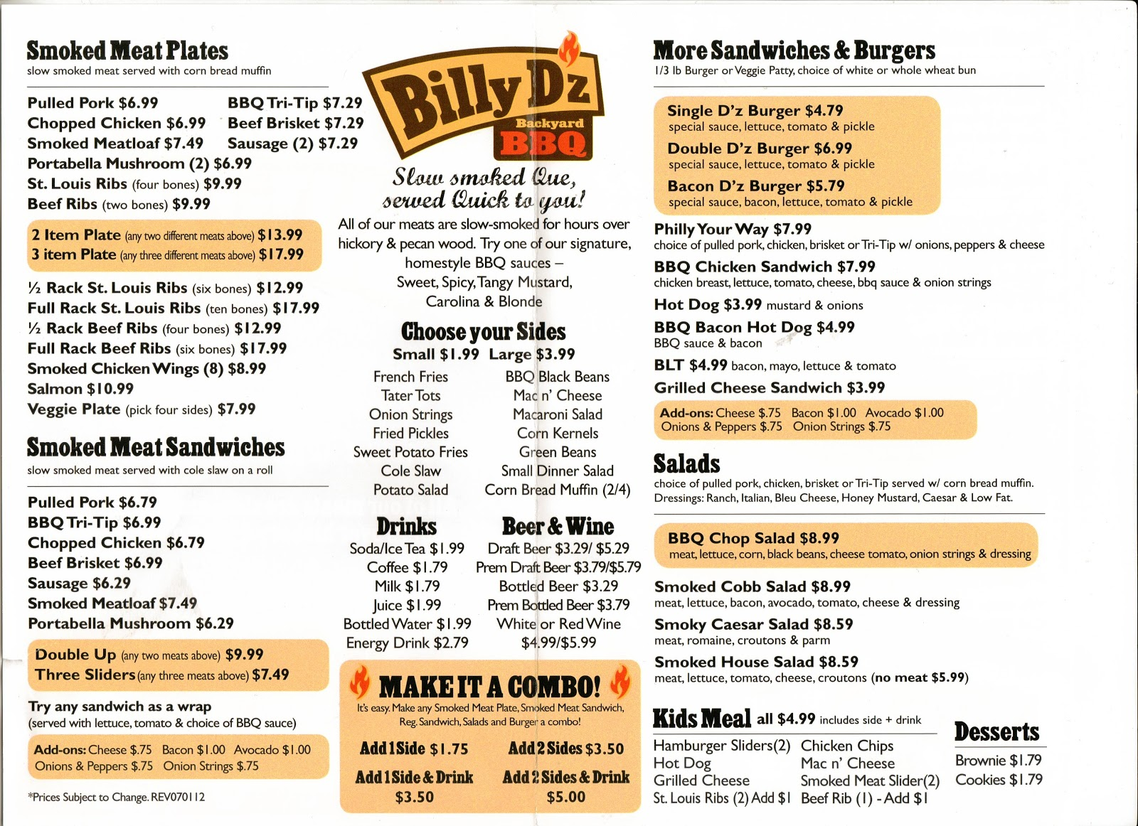 billy d z backyard bbq newbury park menu 765 north wendy drive newbury