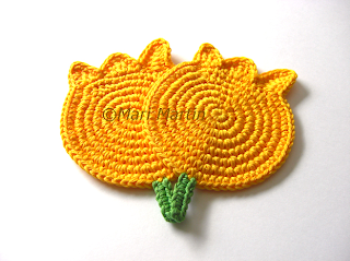 Crochet Coasters Yellow Tulips