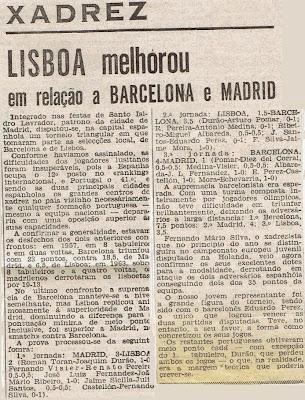 Recorte de prensa portuguesa sobre el Torneo de Ajedrez Internacional Interciudades Barcelona-Lisboa-Madrid 1971