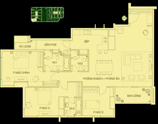 căn hộ 160 m2 R2, căn 2