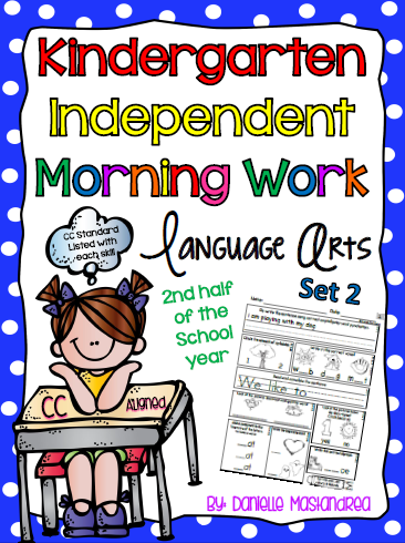 http://www.teacherspayteachers.com/Product/Kindergarten-Independent-Morning-Work-60-Pages-LA-Set-2-CC-Aligned-1104175