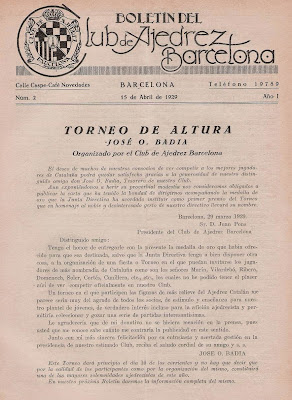Boletín del Club Ajedrez Barcelona anunciando el Torneo de Ajedrez de Altura José O. Badía 1929