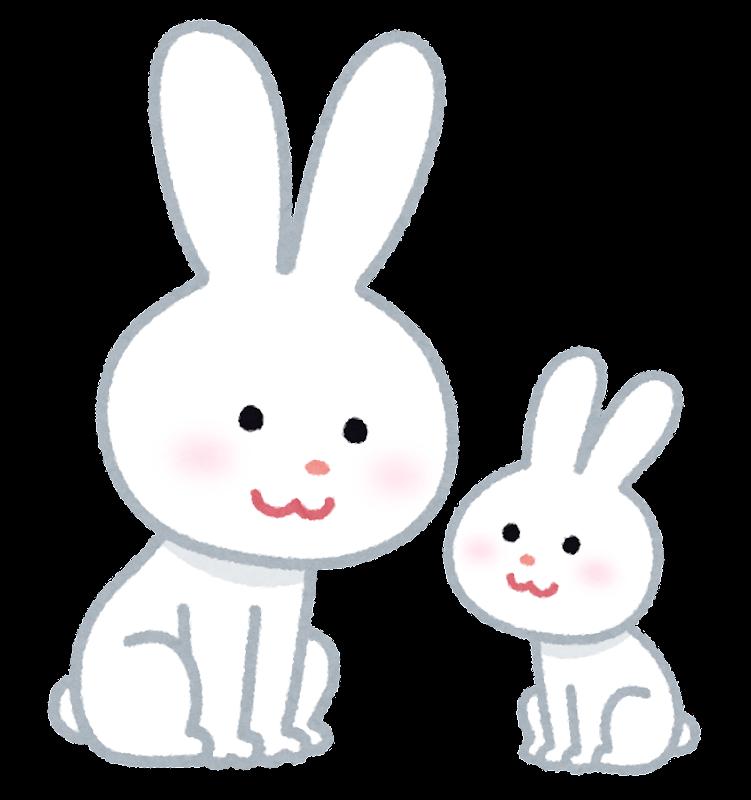 向い合って笑っているウサギの親子のキャラクターです。