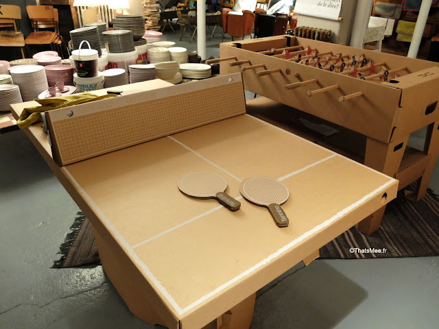 resto boutique deco borgo delle tovaglie Paris table ping pong recyclable carton