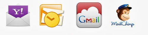 Yahoo Mail, Outlook, Gmail and Mailchimp logos.