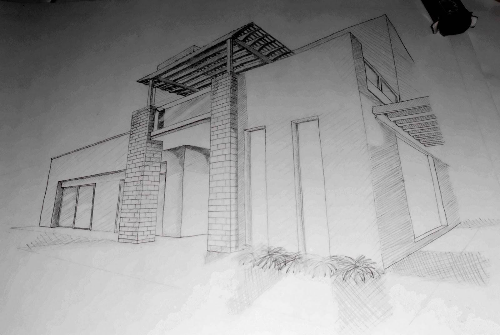 Catatan Tangan Detail Arsitektur Arsir Garis