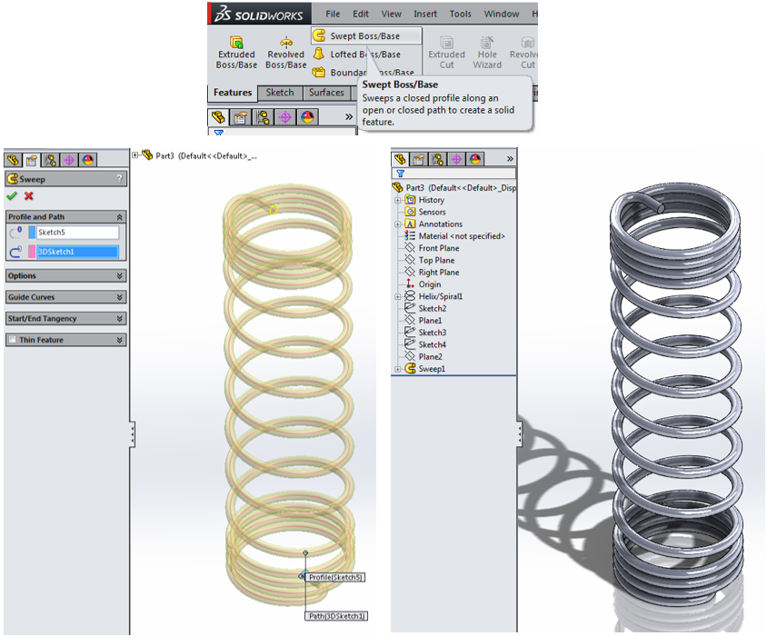 how to make a spring in solidworks
