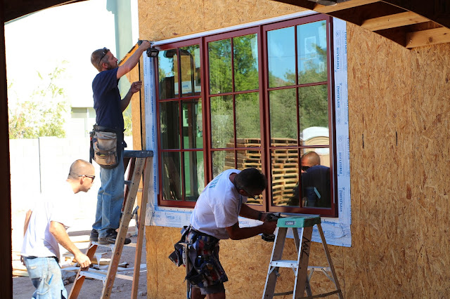 weathershield brick red windows, installing windows