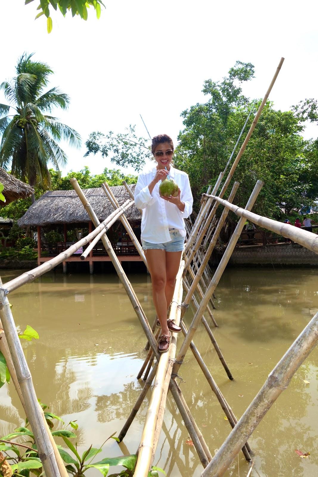Bamboo bridge Mekong Delta Vietnam 2015