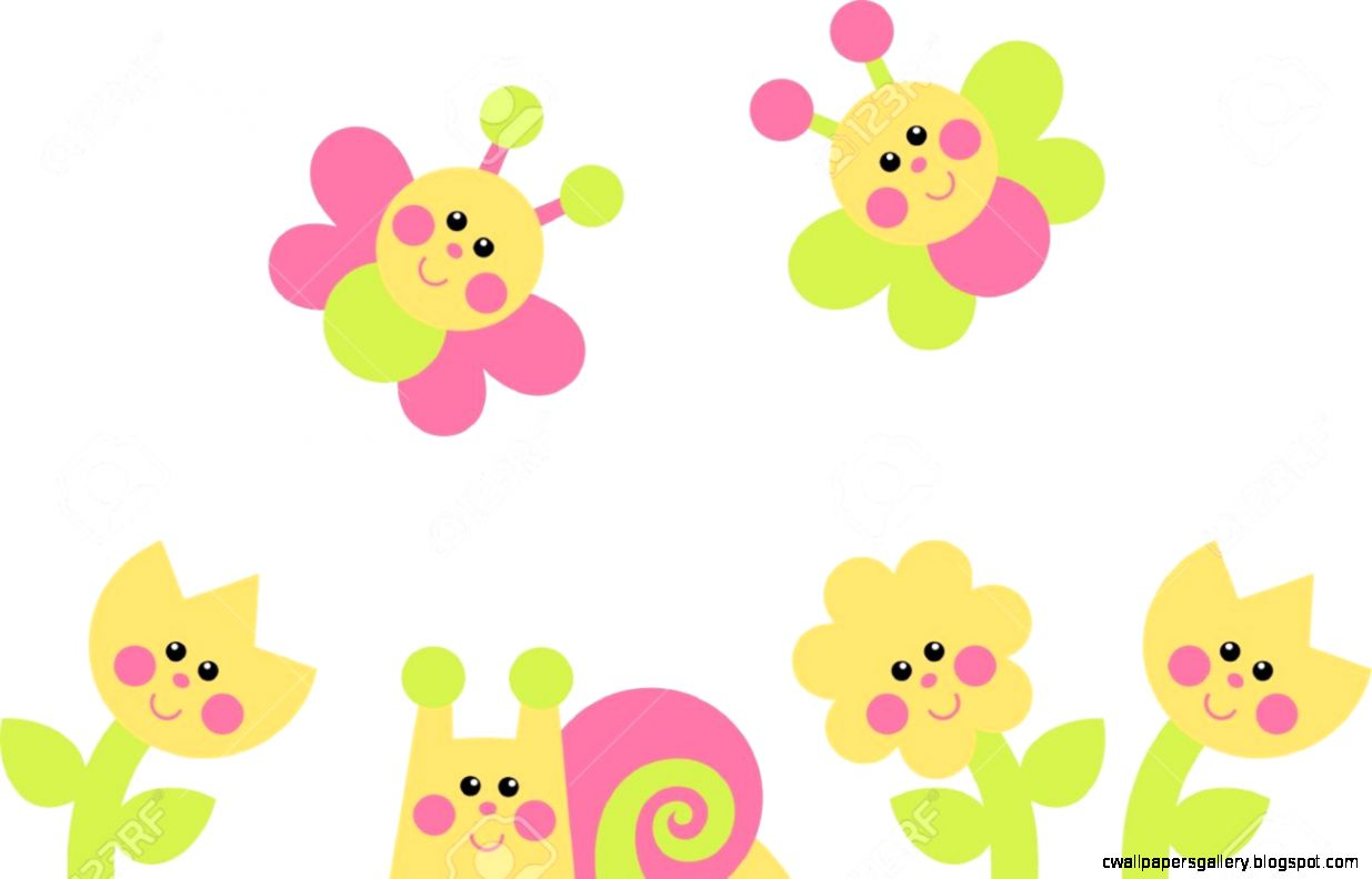 Flowers Snail Butterflies Royalty Free Cliparts Vectors And