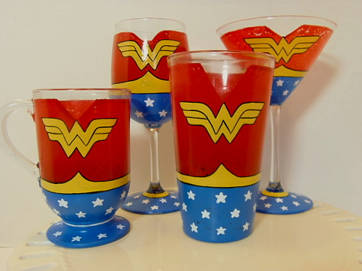Hand Painted Wonder Woman Glassware