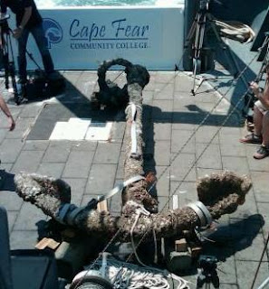 An anchor raised from wreck of Queen Anne's Revenge, flagship of Blackbeard the pirate