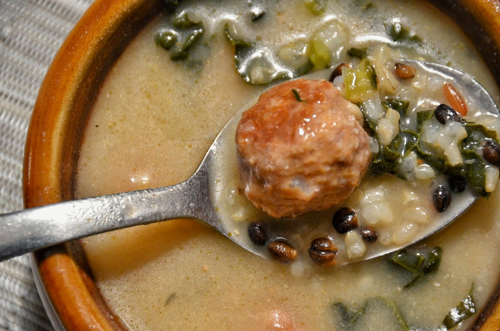 Spicy Meatball Soup with Kale and Rice | Cheesy Pennies