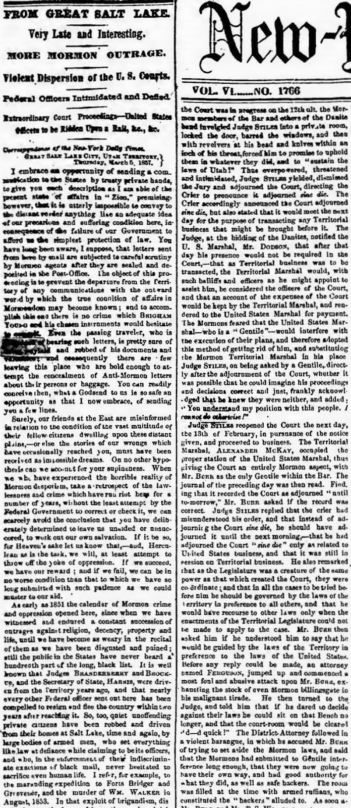 may 18 1857 new york daily times page 1 from great salt lake more mormon outrage violent dispersion of the u s courts