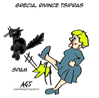 Tsipras, Grecia, Merkel, satira, vignetta