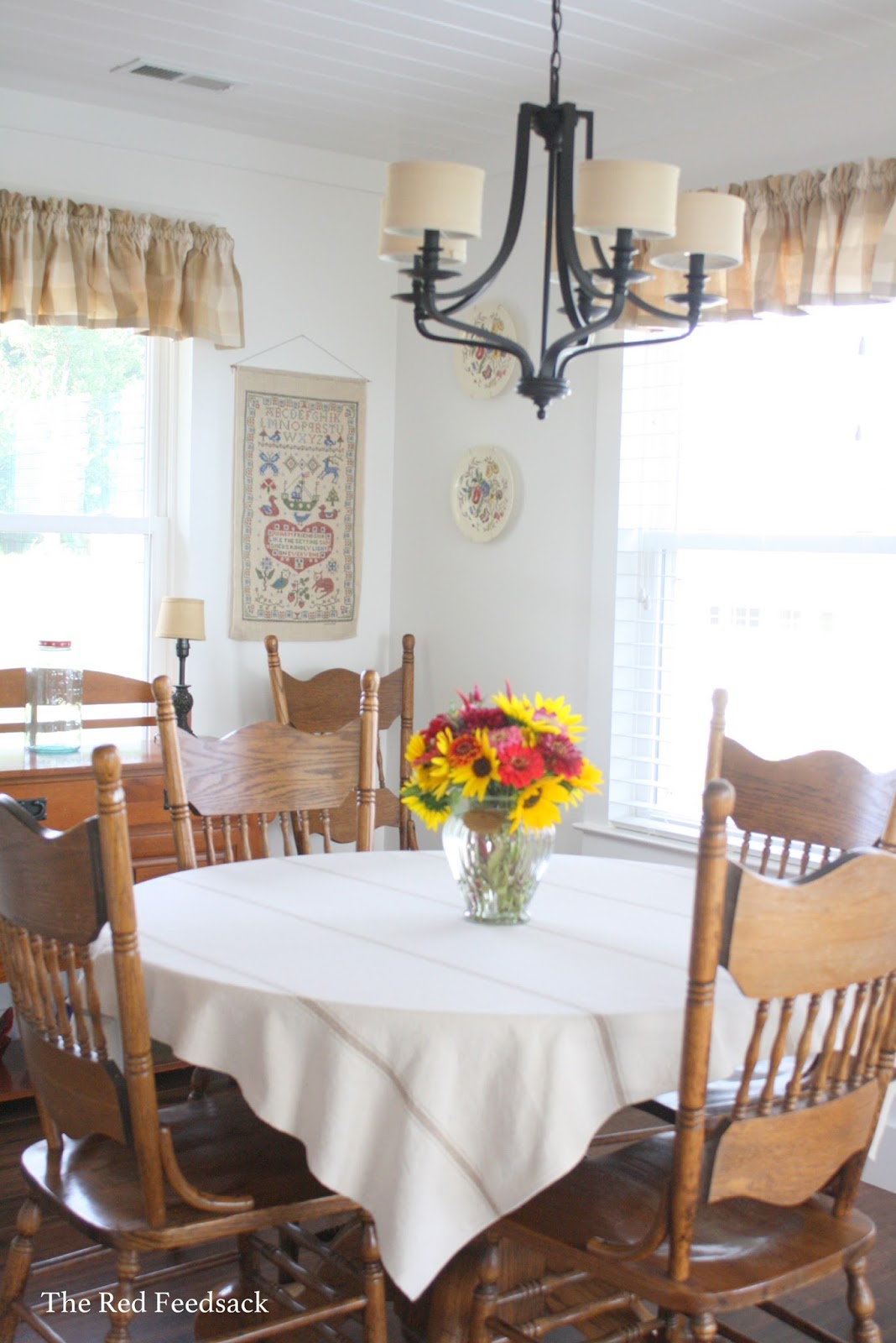 The Red Feedsack: A Farmhouse Tablecloth