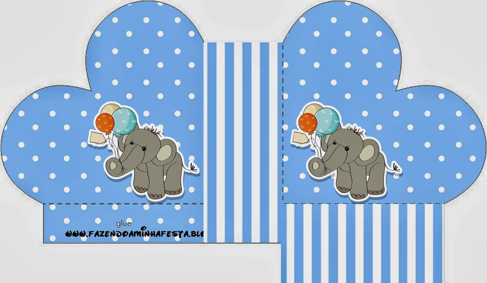 lovely elephant with balloons for baby parties free printable