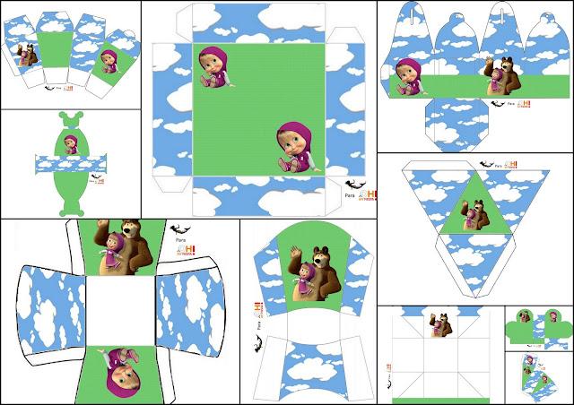 Masha and the Bear: Free Printable Boxes.