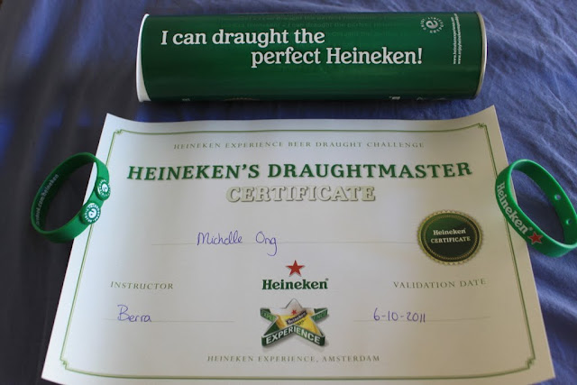 My proven skill with Heineken Draughtmaster Certificate at Heineken Experience Museum in Amsterdam, Netherlands