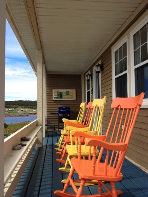 orange yellow rockers porch Duntara Bonavista Bay Margaret Ryall
