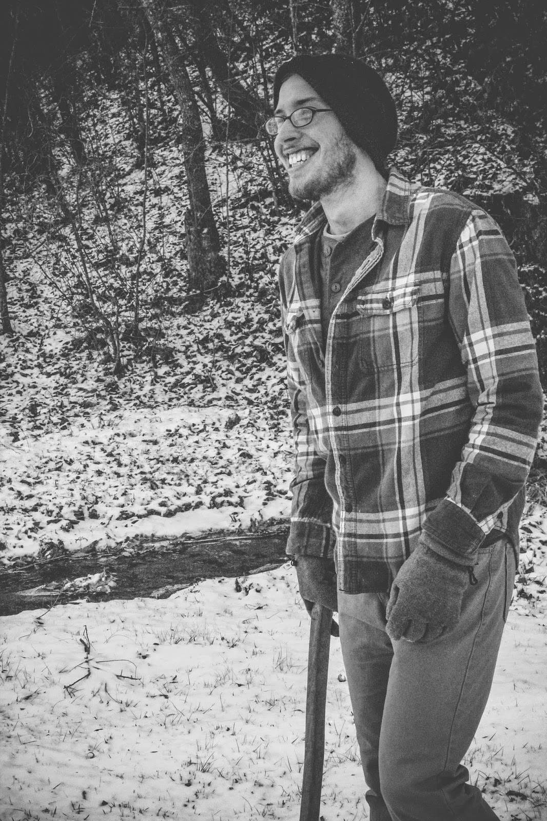 are we out of the woods yet snow georgia outdoors winter photography trees ax axe flannel beanie glasses smile laughter man attractive