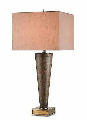 ebony rubbed wood table lamp