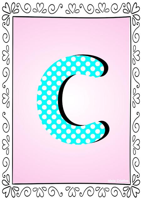 Alfabeto Poá Colorido com Borda Letra