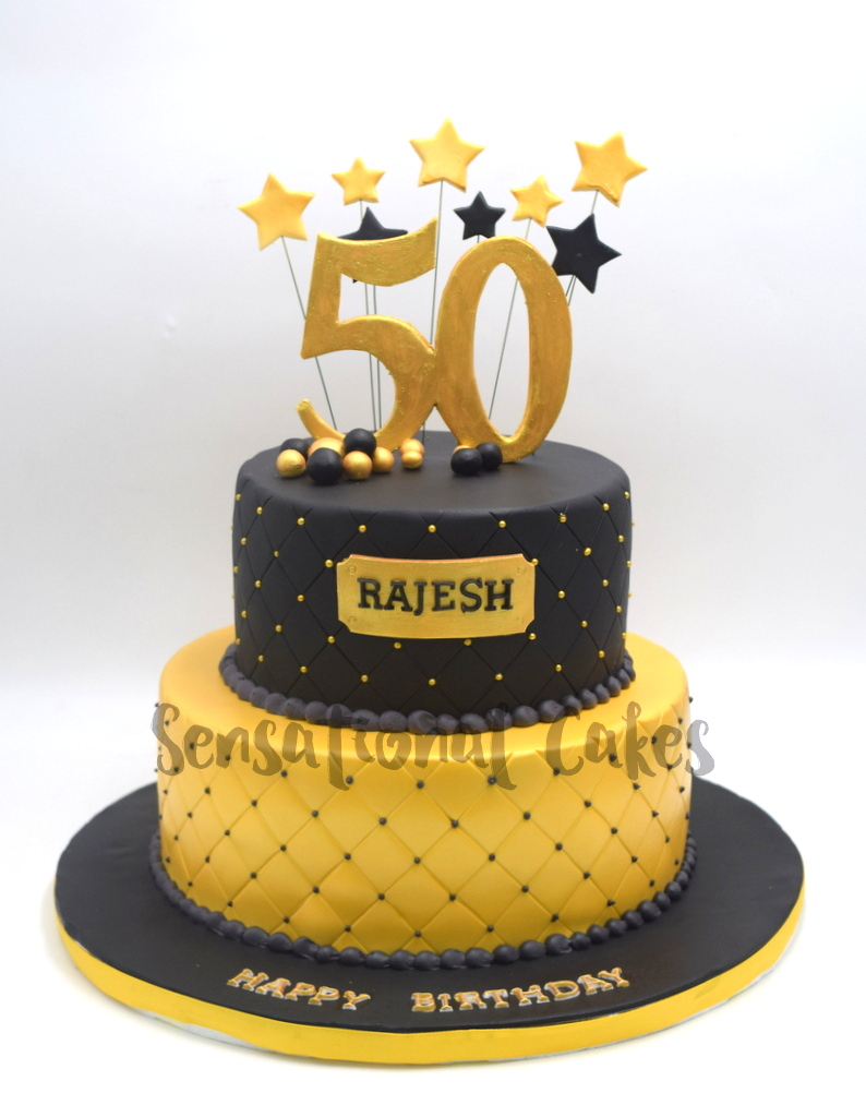 Black And Gold Classic Quilted Design For 50th Birthday Theme Cake Singaporecake