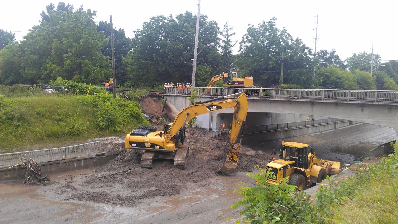 dixie road construction railway track toronto flood GO train port credit long branch