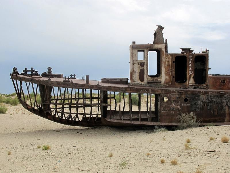 Moynaq, is a city in northern Karakalpakstan in western Uzbekistan. Formerly a sea port, now home to only a few thousand residents at most, Mo'ynoq's population has been declining precipitously since the 1980s due to the recession of the Aral Sea.