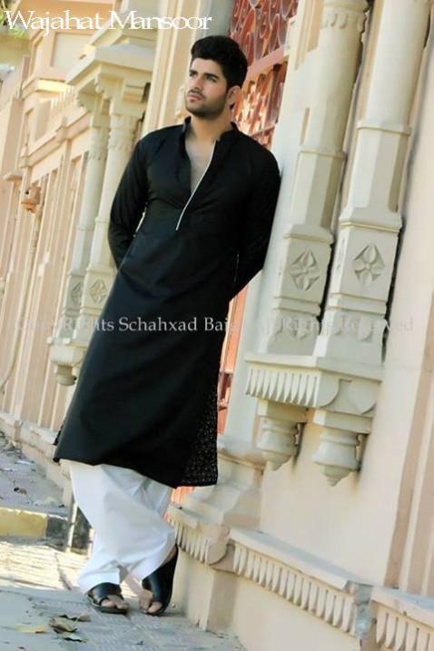 Trendy Eid Men Kurta Pajama Shalwar Kamiz Collection 2014 By Wajahat