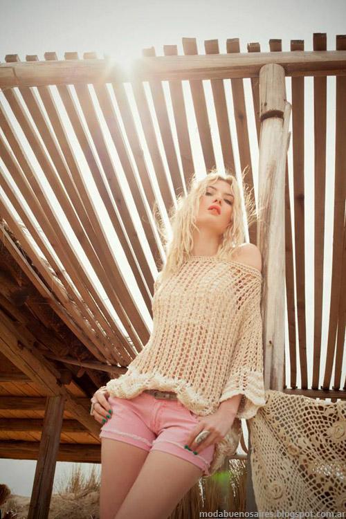 Moda tejidos verano 2014 Sweaters calados Sweet 2014.