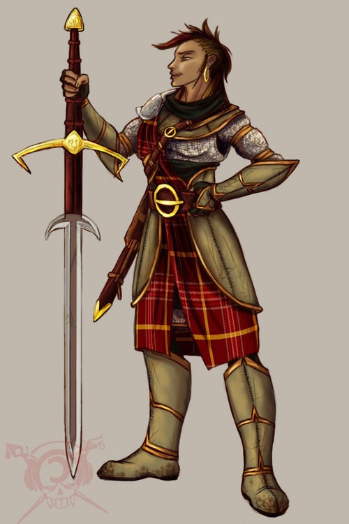 Drawing of female warrior character with large sword and solid armor that covers her whole body