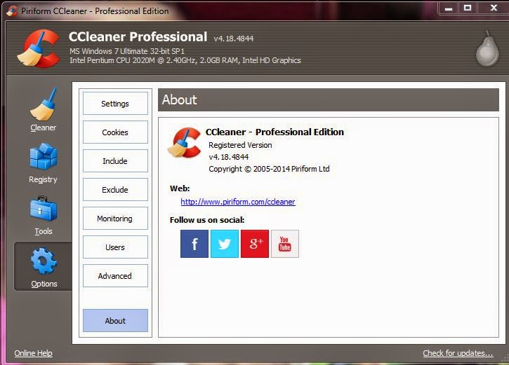 Free Download CCleaner - Professional Edition v.4.18.4844