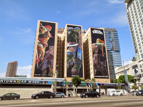 Giant Teenage Mutant Ninja Turtle billboards Downtown LA