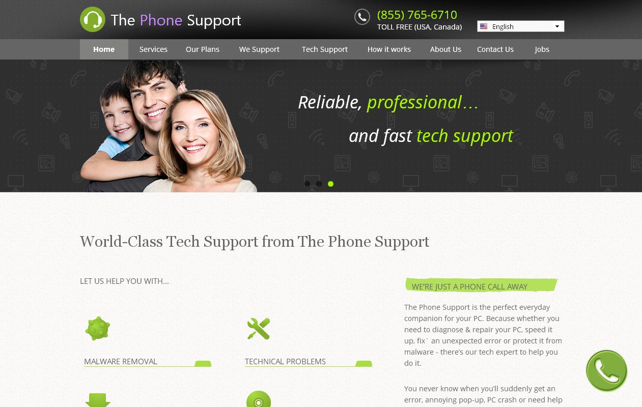 The Phone Support pop-ups