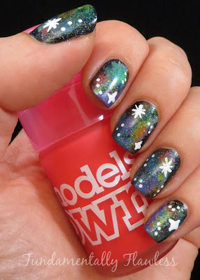 Neon Galaxy Nails with Models Own Pink Punch on Fundamentally Flawless
