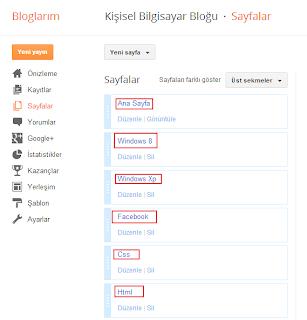 Blogger (blogspot) kategori sayfaları ekleme (Resimli Anlatım)