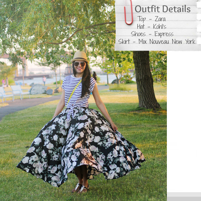 Floral maxi skirt outfits, floral print long skirt, zara striped top, how to wear a maxi skirt