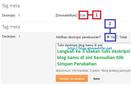 Cara Pasang SEO Meta Tag Description Di Blogger