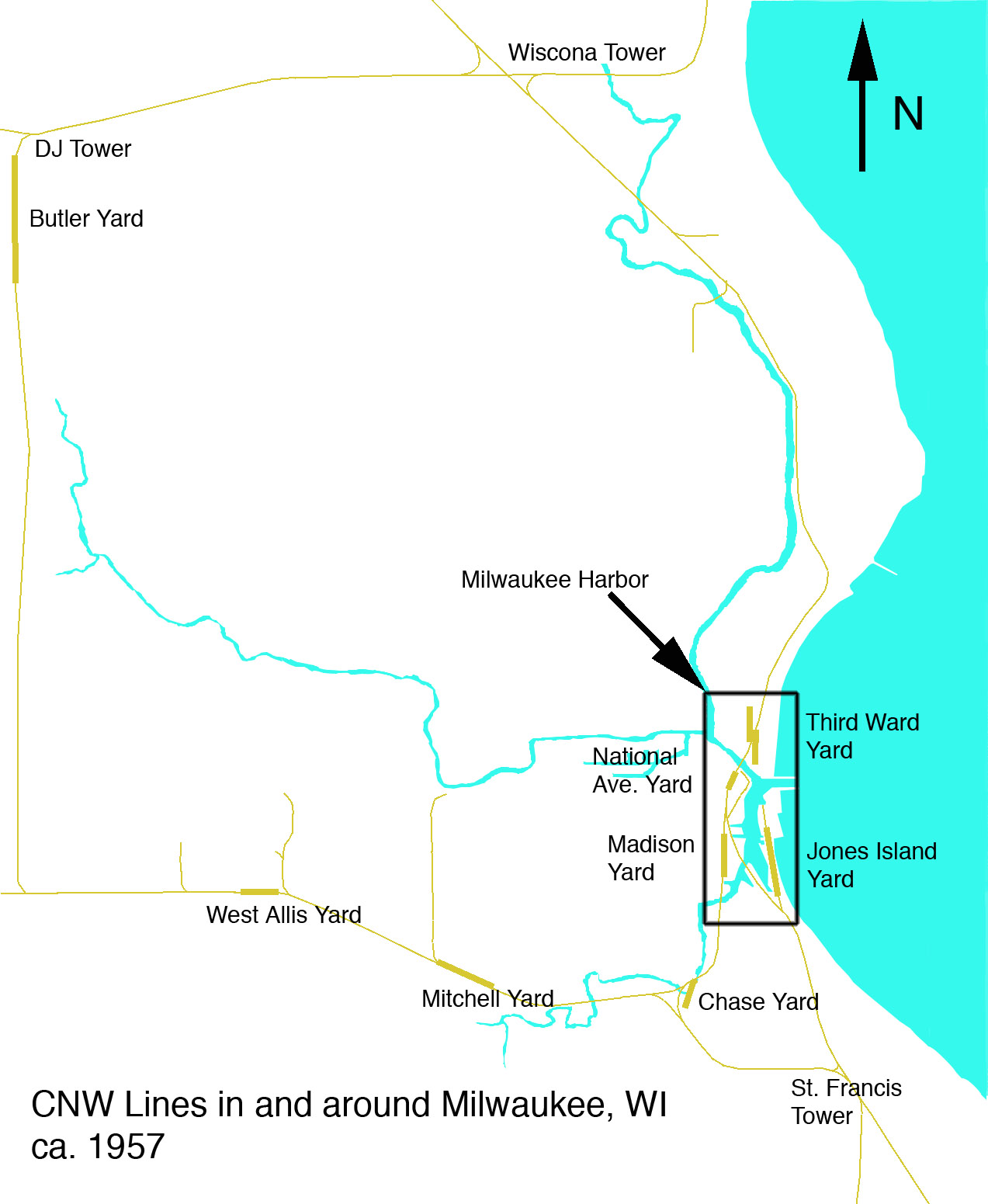 milwaukee is a major junction on the cnw where several lines meet that connect chicago to the south with minneapolis st paul the lower fox river cities