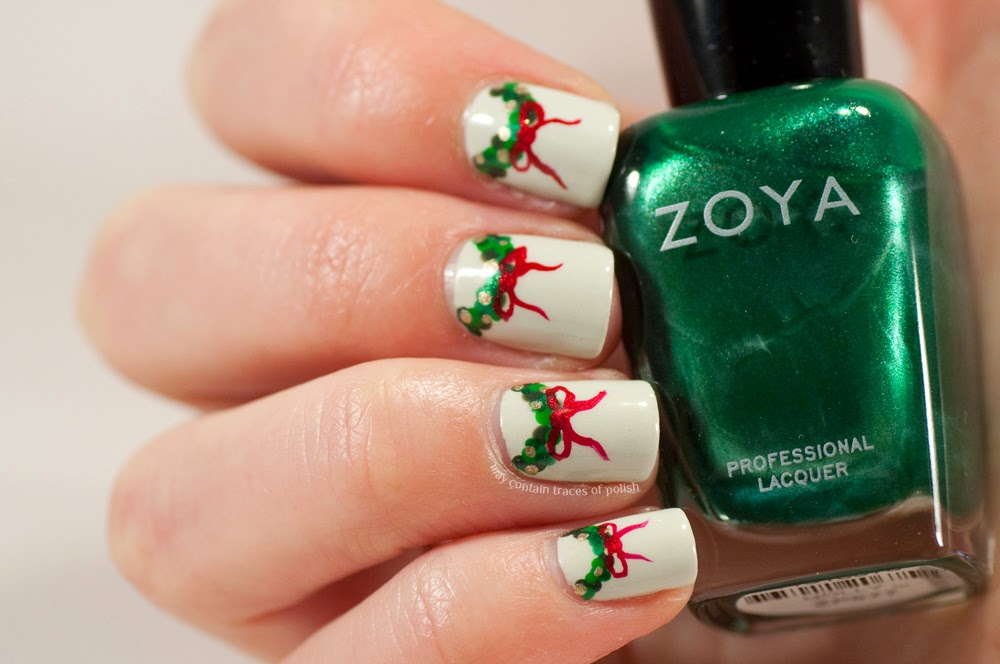 Christmas wreath nail art may contain traces of polish today winter nail art challenge does ornaments and i went for a wintery wreath the kind i imagine would hang on my door if i owned a house prinsesfo Image collections