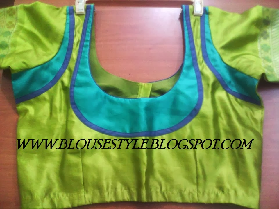 GREEN WITH BLUE COMBINATION BACK NECK BLOUSE