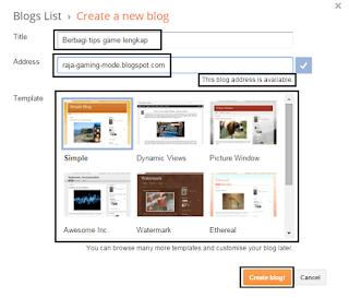 Menu pengaturan pembuatan blog