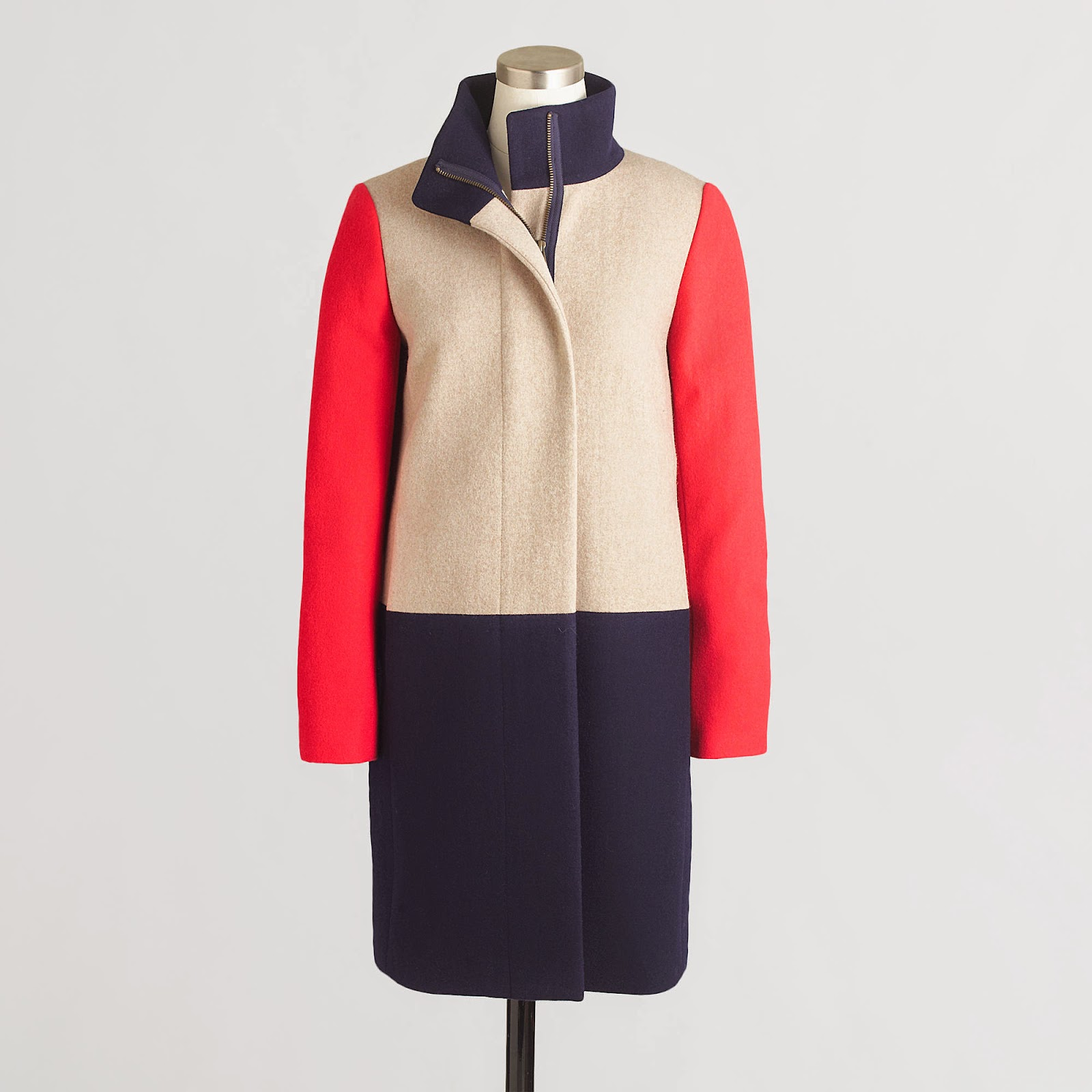 JCrew Colorblock coat, Red WHite Blue colorblock coat
