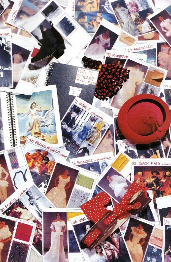 John Galliano's inspiration board for Fall 2007 show via Numero No. 88 November 2007