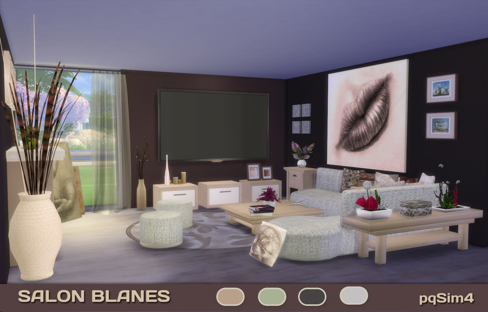 My sims 4 blog blanes living set by pqsim4 for Sims 3 salon moderne